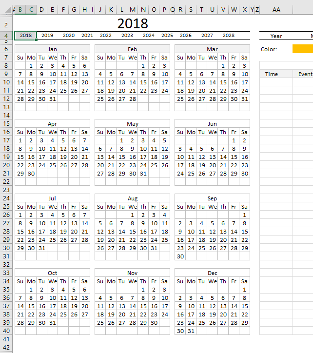 Yet another Excel Calendar worksheet calendar