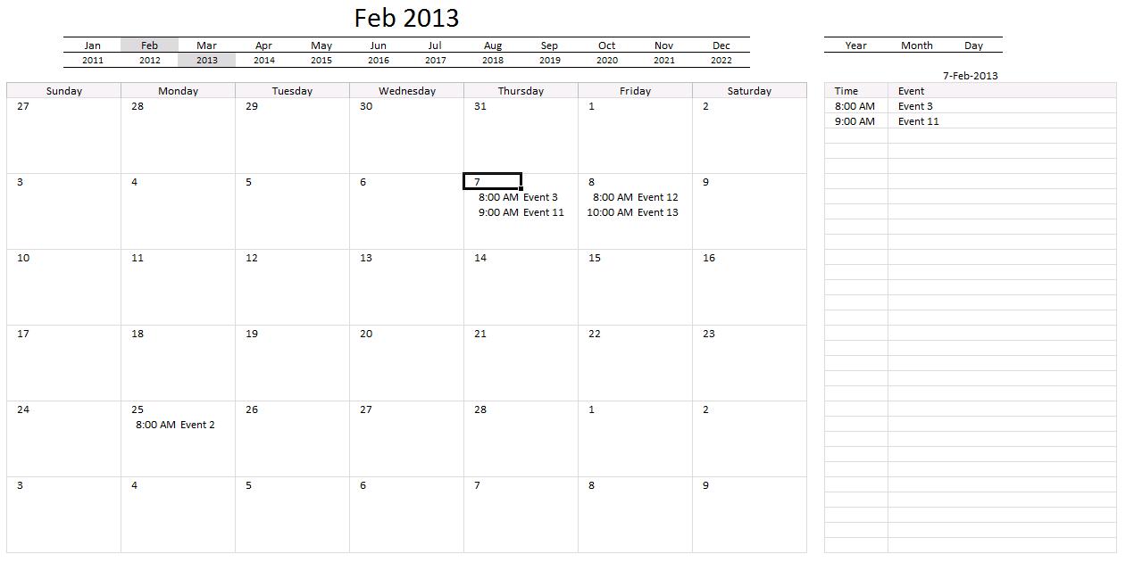 Yet another excel calendar