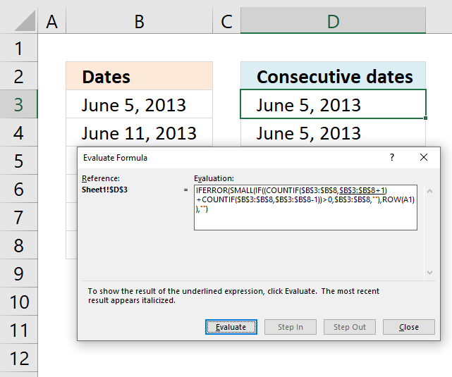 Consecutive dates evaluate formula