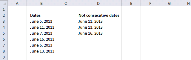 Find non consecutive dates