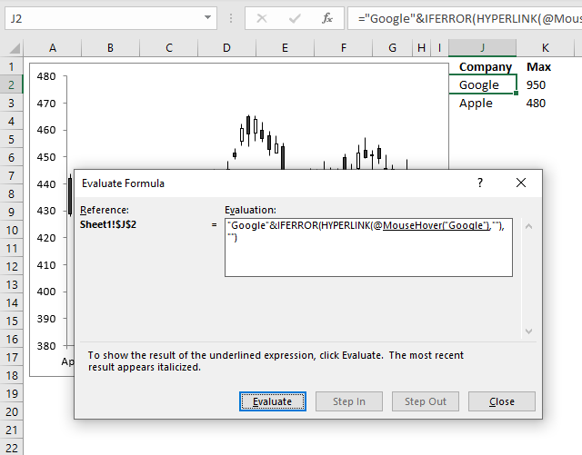 Hover with mouse cursor to change stock in a candlestick chart evaluate formula