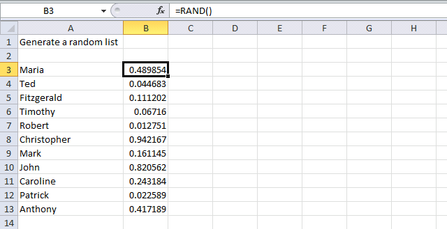 generate random list