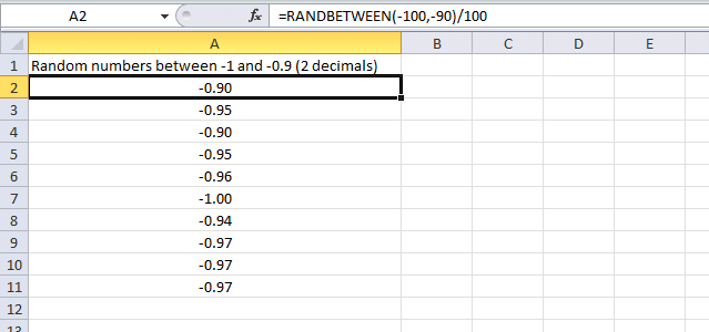 generate random negative numbers