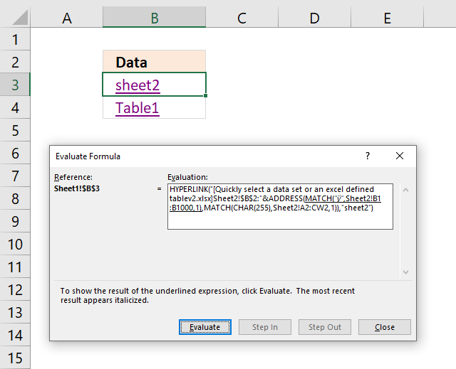 Easily select data using hyperlinks evaluate formula