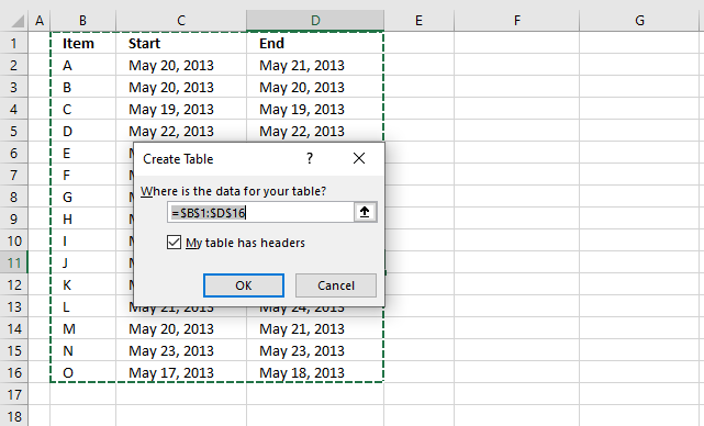 Highlight date ranges overlapping selected record VBA