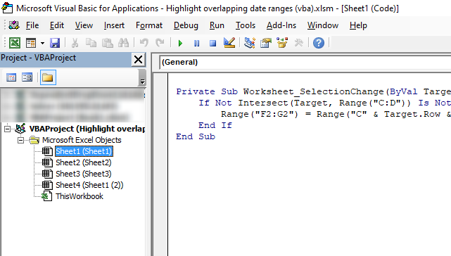 Highlight date ranges overlapping selected record place VBA code