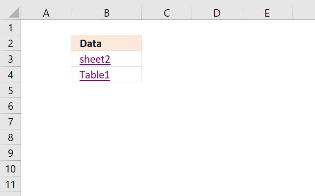 Quickly select a data set or an excel defined table HYPERLINK