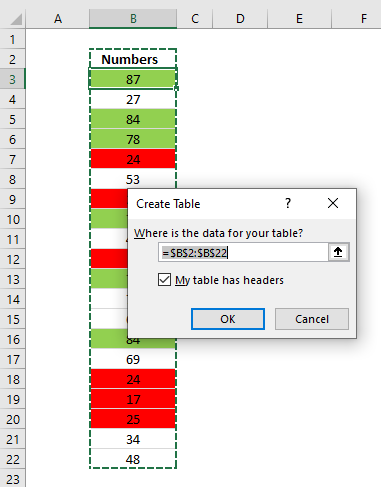 Count cells based on background color create excel table