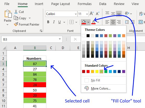 Count cells based on background color fill color