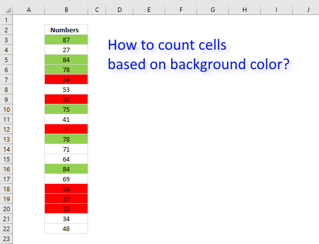 Count cells based on background color