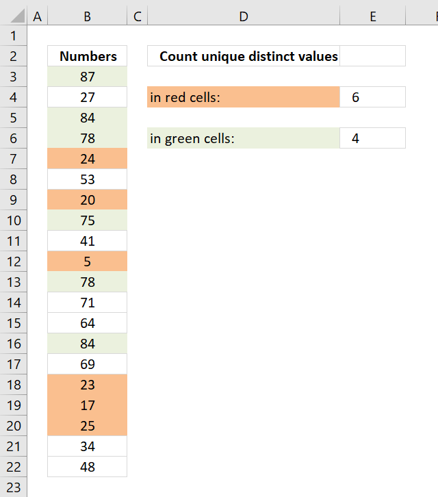 Count unique distinct values by cell color 1