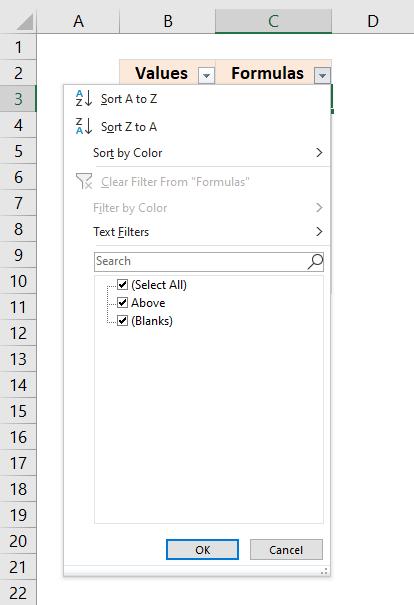 Delete formulas returning blanks using a filter