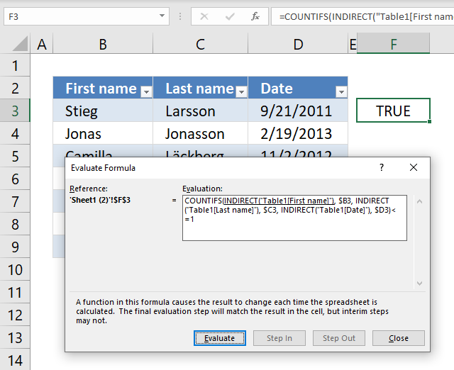 Prevent duplicate records evaluate Data Validation Formula