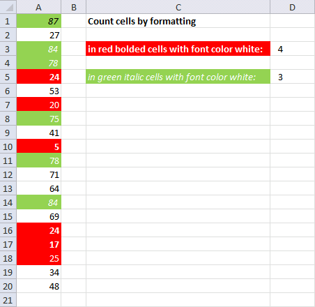 Count cells by cell and font color
