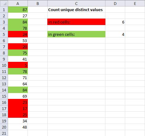 count unique distinct values by cell color