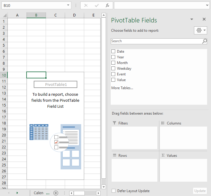 pivot table calendar insert pivot table
