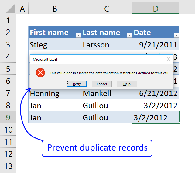 how to find duplicate names in excel 2013