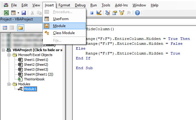 Click button to hide column VB Editor 1