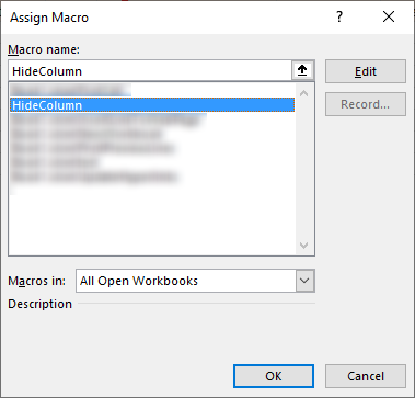 Click button to hide column link button to a macro