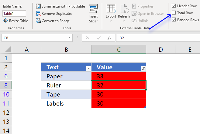 Count cells based on Conditional formatting using an Excel Table3