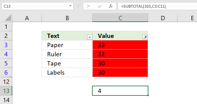 Count cells using Excels Filter tool