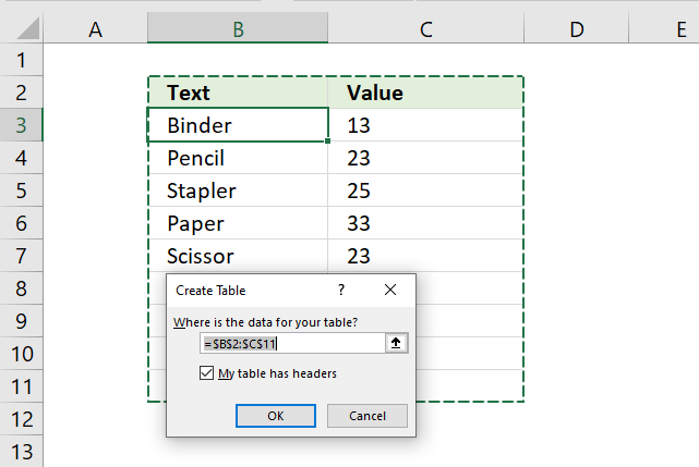 Create Excel Table count cells