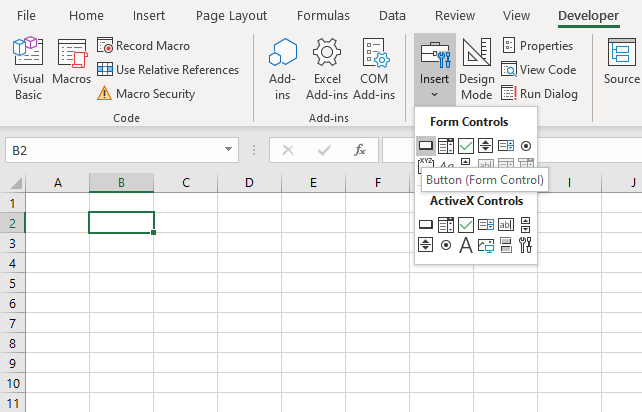 Hides worksheet programmatically Link button to macro