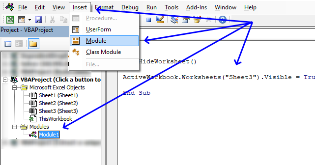 Hides worksheet programmatically VB Editor