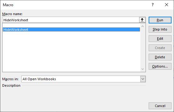 Hides worksheet programmatically