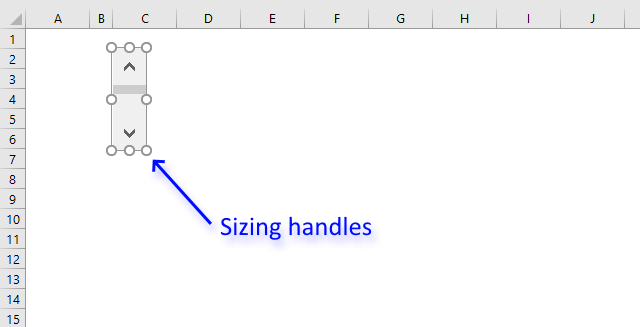 Scroll bar sizing handles