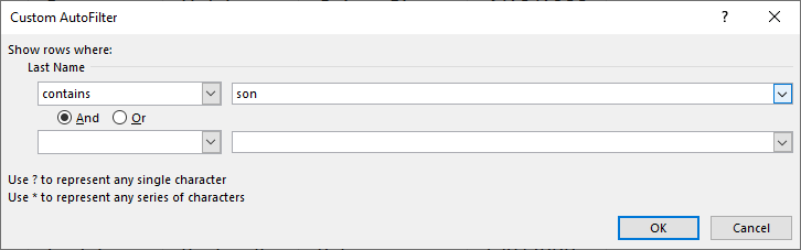 Wildcard lookups and include or exclude criteria filter tool contains dialog box