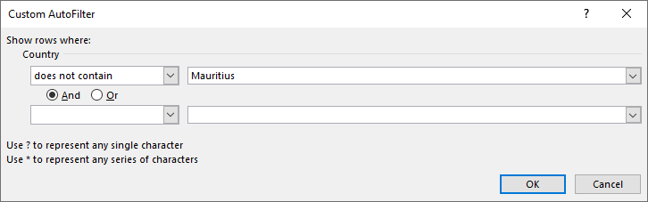 Wildcard lookups and include or exclude criteria filter tool does not contain dialog box