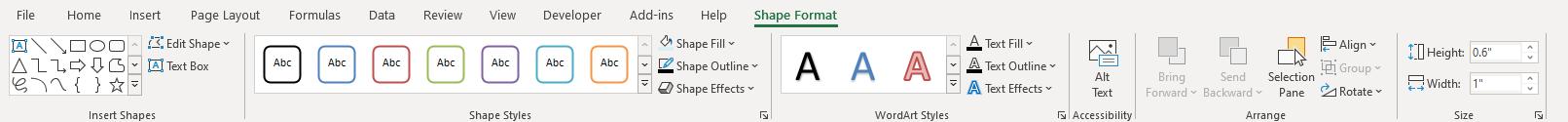 format a textbox shape format tab