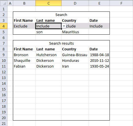multiple wildcard lookups and include or exclude criteria