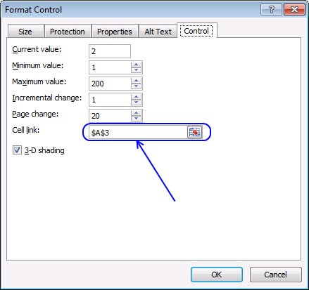 scroll bar format control
