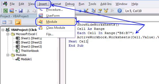 vb editor - insert a module