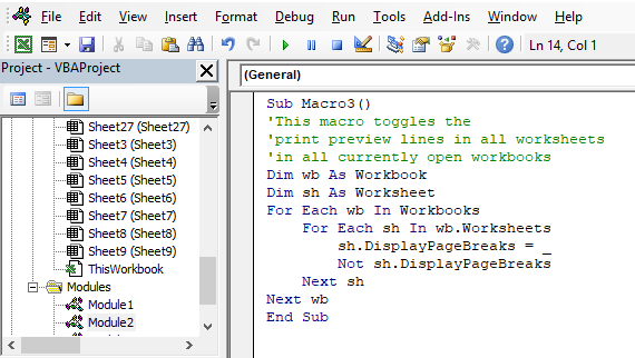 Picture of VB Editor displaying macro to toggle print preview lines on every worksheet in all open workbooks