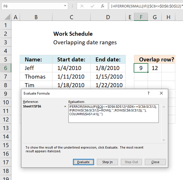 Identify rows of overlapping records examine formula