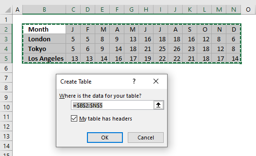 Quickly change data source create Excel Table
