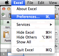 Picture of how to go to preferences in Excel 2011 for Mac