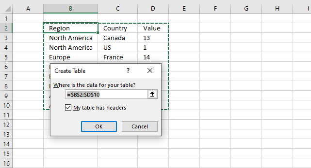 Highlight a group of chart bars create Excel Table