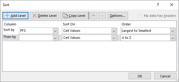 Sort by multiple columns custom sort settings add level
