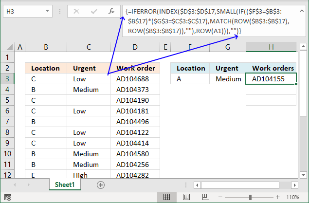 Find the most urgent work orders array formula