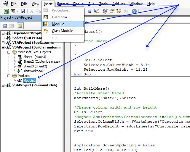 Build a maze in Excel VB Editor