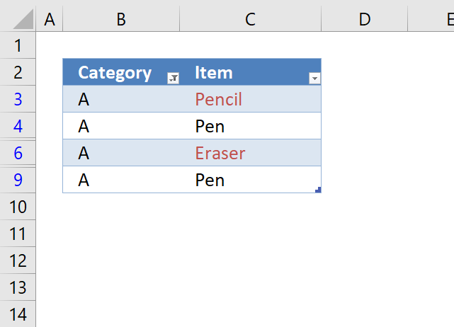 Highlight unique values in a filtered Excel table1