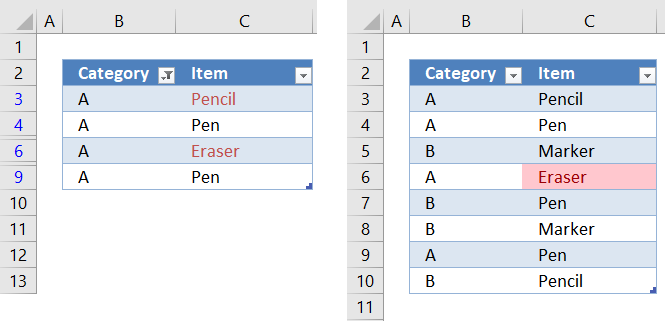 Highlight unique values in a filtered Excel table2 1