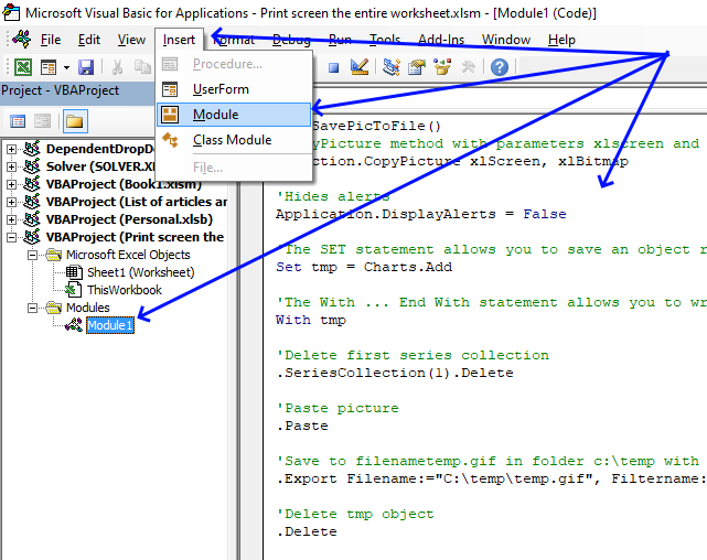 Print screen the entire worksheet VB Editor