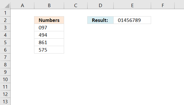 Sort and return unique distinct single digits from cell range