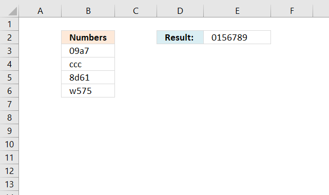 Sort and return unique distinct single digits from cell range2