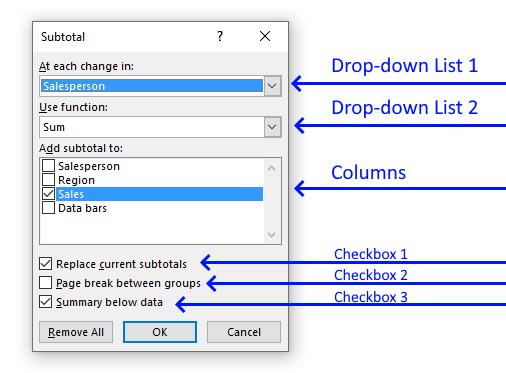 Subtotals dialog box settings